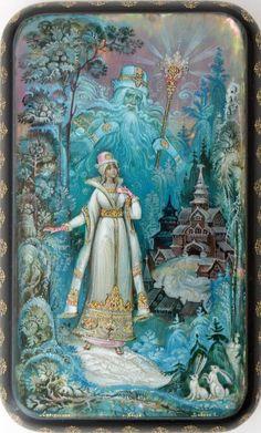 Russian lacquer miniature from the town of Kholuy Illustrations, Illustration Art, Eslava, Snow Maiden, Russian Culture, Russian Folk Art, Soviet Art, Russian Painting, Fairytale Art
