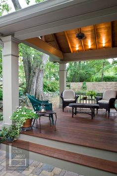 Like the lights in the rafters Porch flooring options - The Porch CompanyThe Porch Company Outdoor Tiles, Outdoor Rooms, Outdoor Living, Outdoor Decor, Outdoor Patios, Outdoor Kitchens, Back Porch Designs, Covered Back Patio, Covered Patio Design
