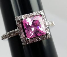 Stunning-Square-Pink-Stone-Costume-Ring-Silvertone-Band-with-Accents-Size-8