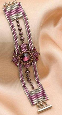 bead weaving patterns for bracelets Bead Embroidery Patterns, Bead Embroidery Jewelry, Beaded Embroidery, Beading Patterns, Loom Patterns, Art Patterns, Beaded Jewelry Designs, Seed Bead Jewelry, Bead Jewellery