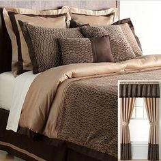 bedspreads in brown | Bedroom in brown and gold