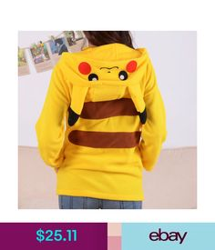 Sweats & Hoodies Women Flannel Warm Hoodies Sweater Yellow Pikachu Cartoon Coat Jacket Homewear #ebay #Fashion