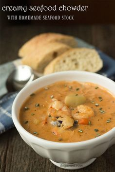 Creamy Seafood Chowder - This creamy seafood chowder recipe begins with an easy-to-make homemade seafood stock, to which potatoes, shrimp, crab, and lobster meat are added.   Recipe on itsyummi.com