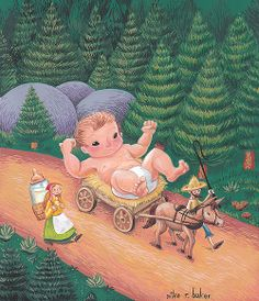 Birth of Paul Bunyan Maine Tall Tales retold by S. Schlosser Now I hear tell that Paul Bunyan was born in Bangor, Maine. Children's Book Illustration, Book Illustrations, Paul Bunyan, Tall Tales, Retelling, Baby Sleep, Folklore, A Team, Childrens Books