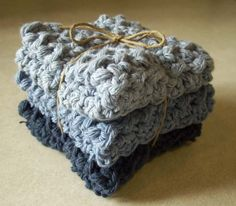 Cotton Crocheted Washcloths in Shades of by roadstoeverywhere, $7.50