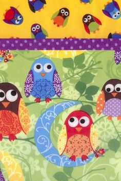 What a cute pillowcase kit. This flannel fabric features owls on a moonlit night. The main part of the case is green with colorful owls and moons. The accent band is a lavender dot on purple, and the top features festive little owls on a yellow ground. Kit contains the flannel fabric and pattern you need to make one standard size pillowcase.