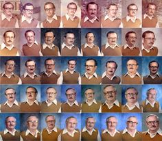 """PE teacher Dale Irby wearing the same shirt and sweater vest for 40 years' school pictures. """"Dale Irby, 63, accidentally wore the same brown v-necked [sweater] and big-collared disco shirt for two consecutive school photos from 1973. When he realised what he had done, wife Cathy dared him to repeat it for the third-year running. The PE teacher kept up the joke and for the past 40 years staff and pupils have eagerly awaited his arrival at school for the annual photo."""""""