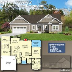 Architectural Designs Craftsman House Plan gives you 3 bedrooms, b. - House Plans, Home Plan Designs, Floor Plans and Blueprints House Plans One Story, New House Plans, Small House Plans, House Floor Plans, Story House, Craftsman Ranch, Craftsman Style House Plans, Ranch House Plans, Craftsman Homes