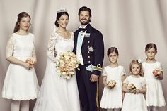 kungahuset.se:  Wedding of Prince Carl Philip of Sweden and Sofia Hellqvist, June 13, 2015-Bride and Groom with their attendants bridesmaid Tiara Larsson (bride's goddaughter), and flower girls Anaïs and Chloé Sommerlath (members of Queen Silvia's family), and Princess Estelle (middle flower girl with bow-the groom's niece)