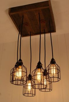 Edison lights from wooden block