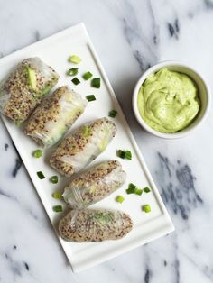 Green Goddess Spring Rolls with Avocado Dipping Sauce