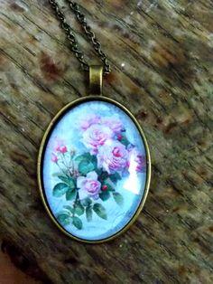 Flower pendant bronze pendant bronze necklace by AgnesJewelries