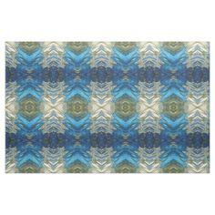 Navy Cobalt Olive Green & Cream Ikat Boho Fabric