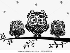 Cool Cartoon Owls Clip Art | Vector Download » black and white illustration vintage owl fairy tale