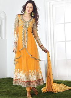 Beautiful Yellow Party Wear Net Anarkali Suit