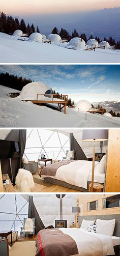 Located at the foot of the Dents-du-Midi mountain range in Switzerland, is the Whitepod Eco-luxury Hotel and Alpine Experience.