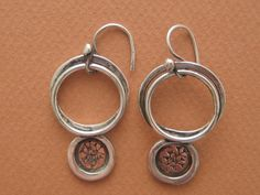 Copper Forged Sterling Silver Earrings by JewelryByCynthia on Etsy, $70.00
