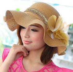 Summer waves UV straw hat for women flowe decoration