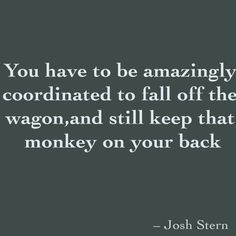 You have to be amazingly coordinated to fall off the wagon, and still keep that monkey on your back