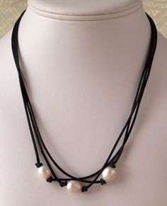 Freshwater Pearl and Leather Necklace Leather and by mompotter