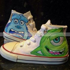 #Monsters Inc Custom High-top Painted Canvas Shoes,High-top Painted Canvas Shoes