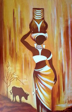 African artwork work African Lady (cow) - L Yaffe Article Physique: Be a quirkier fashionista regard African Art Paintings, African Artwork, Oil Paintings, Arte Tribal, Tribal Art, Afrique Art, Art Africain, Coffee Painting, African American Art