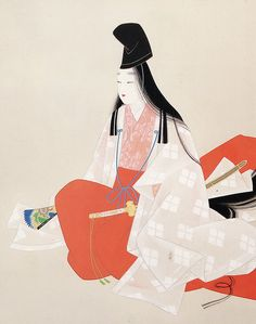 A shirabyoshi dancer dressed in junihitoe by Uemura Shoen. Japanese Patterns, Japanese Prints, Geisha, Heian Era, Heian Period, Japanese Modern, Art Japonais, Japanese Painting, Japan Art