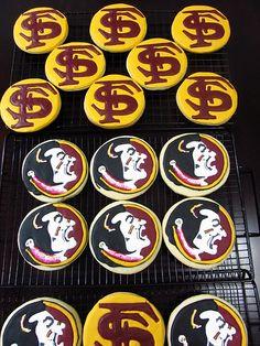Fsu Logo, Grad Party Decorations, Logo Cookies, Graduation Cookies, Football Food, Grad Parties, Party Cakes, Cookie Decorating, Sugar Cookies