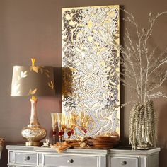 taupe/mushroom with accents of gold, silver, red, metallic, glass (featuring Pier 1 Imports' Mirrored Damask Panel - Champagne)