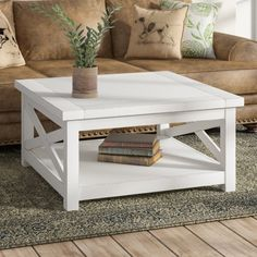 Laurel Foundry Modern Farmhouse Moravia Cross Legs Coffee Table with Storage Solid Wood Coffee Table, Coffee Table With Storage, Decorating Coffee Tables, Living Room Seating, Living Room Furniture, Home Furniture, Living Rooms, Flip Furniture, Living Spaces