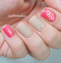 Nailpolis Museum of Nail Art | Pink and gold skittlette by nathalie lapaillettefrondeuse