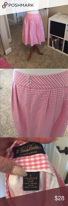 Brooksbrothers pink gingham skirt size 4 Brooksbrothers pink gingham skirt size 4 zip up side Brooks Brothers Skirts A-Line or Full