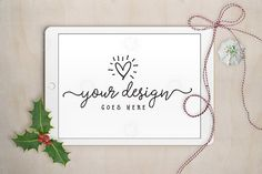 Christmas Holly iPad mockup by Garlic Friday Design on @creativemarket | Blogger Photos | Feminine Styled Stock Photos | Styled Stock Mockups | Desk Photos | Flatlays | Styled stock photography