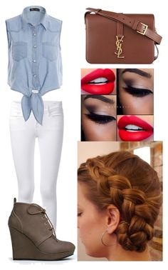 """""""brown and denim"""" by ladybug-as-sassy ❤ liked on Polyvore"""