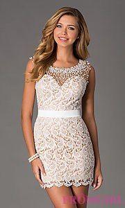 Short Sleeveless Ivory Lace Cocktail Dress