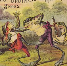19th Century Antique Boxing Frog Reynolds Shoe Adams NY Advertising Trade Card
