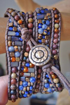 Rustic Old World CZECH & Sodalite 5 Wrap Leather Bracelet with Painted Jasper, Brown Howlite, Brass Beads and Button, Bracelets of Blue Ridge