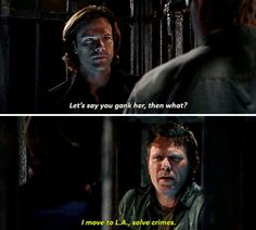 """Sam: But let's say you gank her. Then what? Lucifer: I move to L.A., solve crimes. #Supernatural 11x10 """"Devil In The Details"""""""