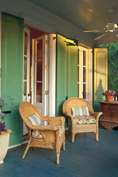 Jazzed-Up Porch Doors. Jazzed-Up Porch Doors These solid-panel shutters add color to the porch and offer extra protection for two pairs of porch doors. The shutters fold back flush against the wall when opened. by angie Back Porches, Screened In Porch, Porch Swing, Country Porches, Southern Porches, Porch Kits, Porch Ideas, Porch Doors, Porch Windows