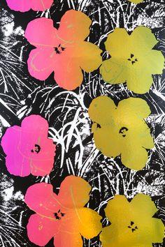 Flowers (Golden Shower on Chrome Mylar) wallpaper designed by Andy Warhol/Flavor Paper