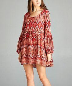 Love this Red Geometric Empire-Waist Dress - Plus by VELZERA on #zulily! #zulilyfinds