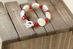 Silver and Crystal bracelet with toggle clasp. by chunkysquare, $35.00