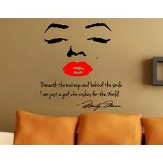 $9.99 Marilyn Monroe Wall Decal Decor Quote Face Red Lips Large Nice Sticker #sticker #marilynmonroe #wall #decor #house #home http://www.InTheWind.org