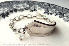 Classic Design Vintage Silver Spoon Bracelet with Swarovski Crystal
