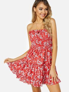 38f599262bb8 Red Backless Design Floral Print Off The Shoulder Sleeveless Dress Dress P,  Backless, Off
