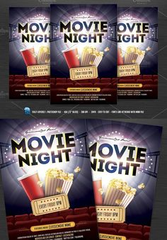 Movie Night Flyer  Flyer Template Template And Adobe