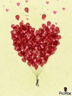 99 red balloons by Alejandra. Red Balloon, Balloons, Animated Heart, Made By Mary, Gifs, Art Inspiration Drawing, Love Yourself First, Perfect World, Be My Valentine