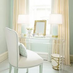 Love Love perfect blue, Lucite, gold, & oyster drapery....pretty chair & lamps