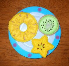 """Pineapple Kiwi Starfruit Slice Set"" It's not often we find such variety in play food. These look very realistic, kids will love them, and you'll rest easy because you made them yourself with safe materials you select. Instructions are included!"
