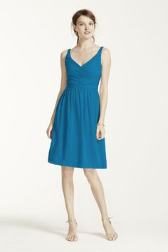 Short Chiffon Bridesmaid Dress with Ruching - Pacific (Blue), 20